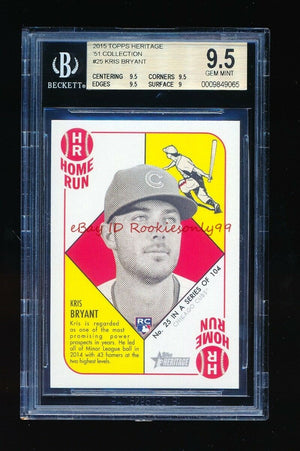BGS 9.5 KRIS BRYANT 2015 TOPPS HERITAGE 51 COLLECTION GEM MINT *CHICAGO CUBS*