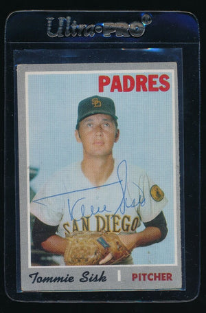 SIGNED TOMMIE SISK 1970 TOPPS #374 AUTO AUTOGRAPH SAN DIEGO PADRES