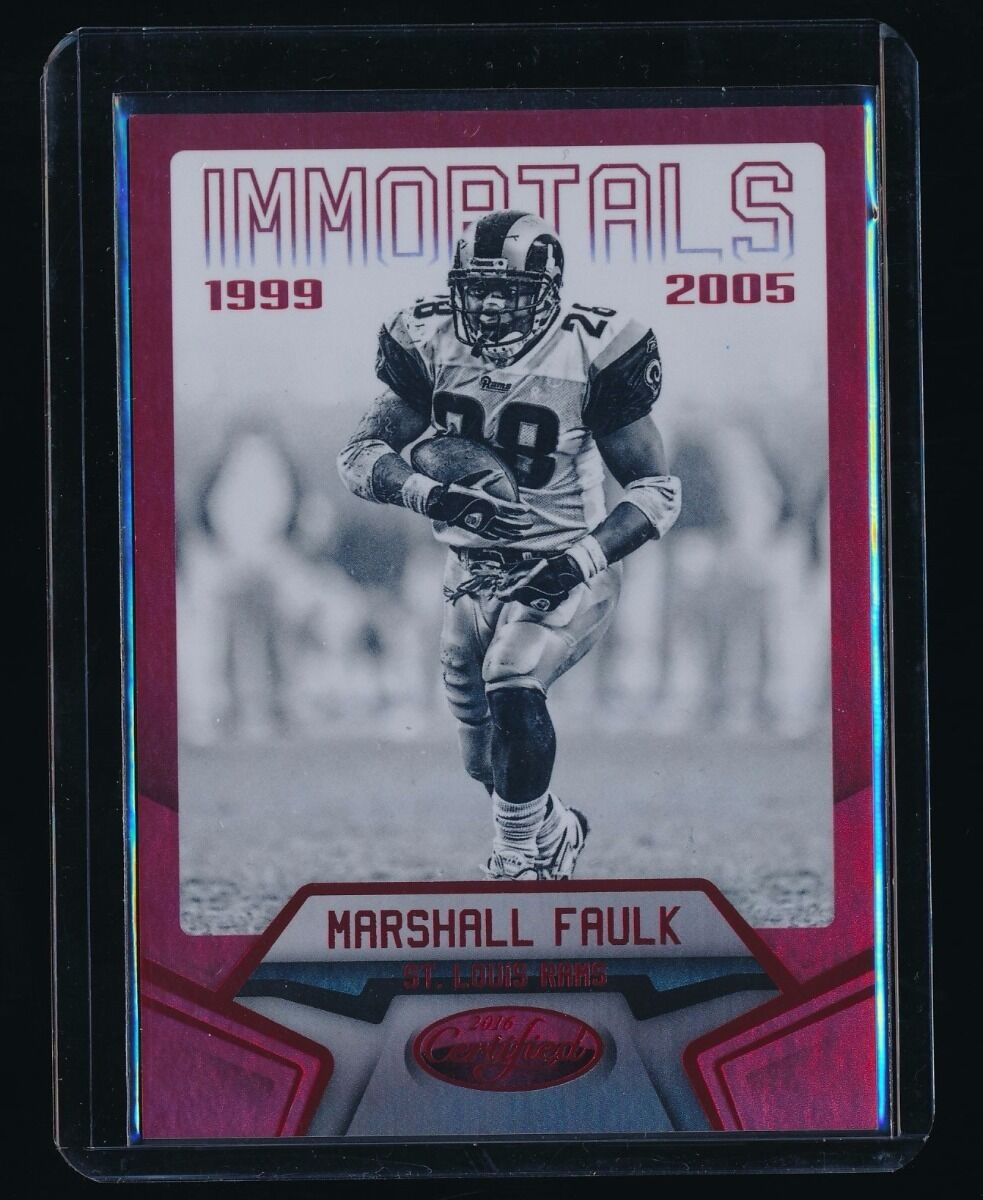 MARSHALL FAULK 2016 CERTIFIED MIRROR RED #125 IMM 11/99 *ST. LOUIS RAMS*