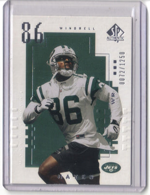 WINDRELL HAYES 2000 SP AUTHENTIC RC 0072/1250 NEW YORK JETS
