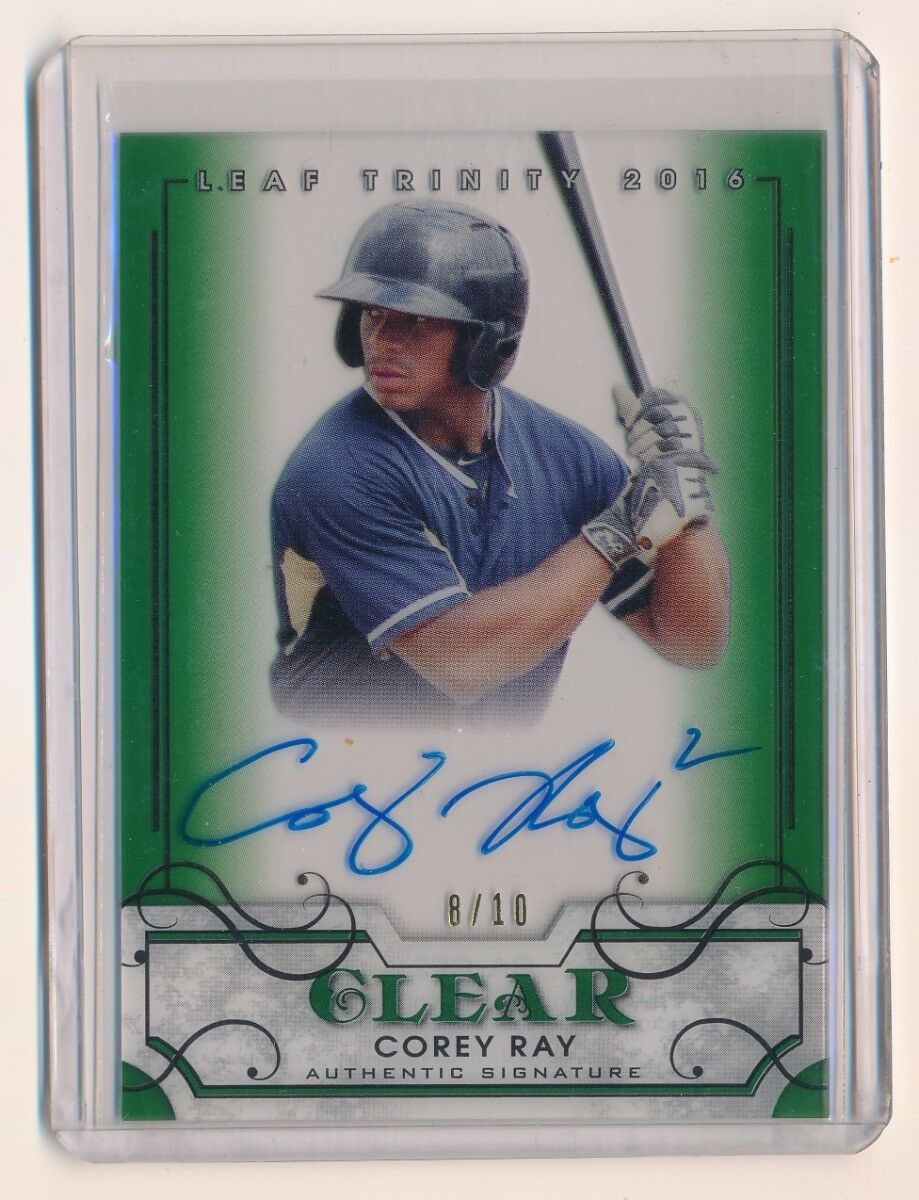 COREY RAY 2016 LEAF TRINITY CLEAR AUTOGRAPH GREEN RC AUTO 8/10 *BREWERS*