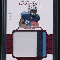 COREY DAVIS 2017 PANINI FLAWLESS ROOKIE PATCH RUBY 10/15 *TENNESSEE TITANS*