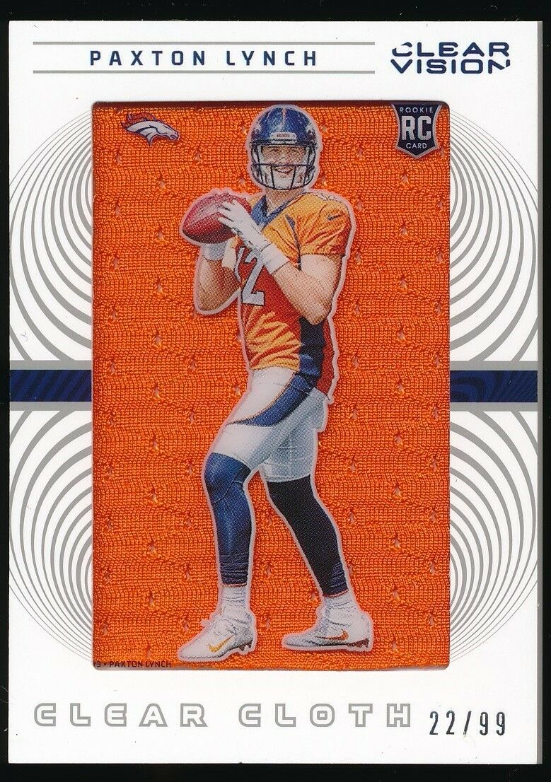 PAXTON LYNCH 2016 PANINI CLEAR VISION ROOKIE CLEAR CLOTH JSY RC 22/99 *BRONCOS*