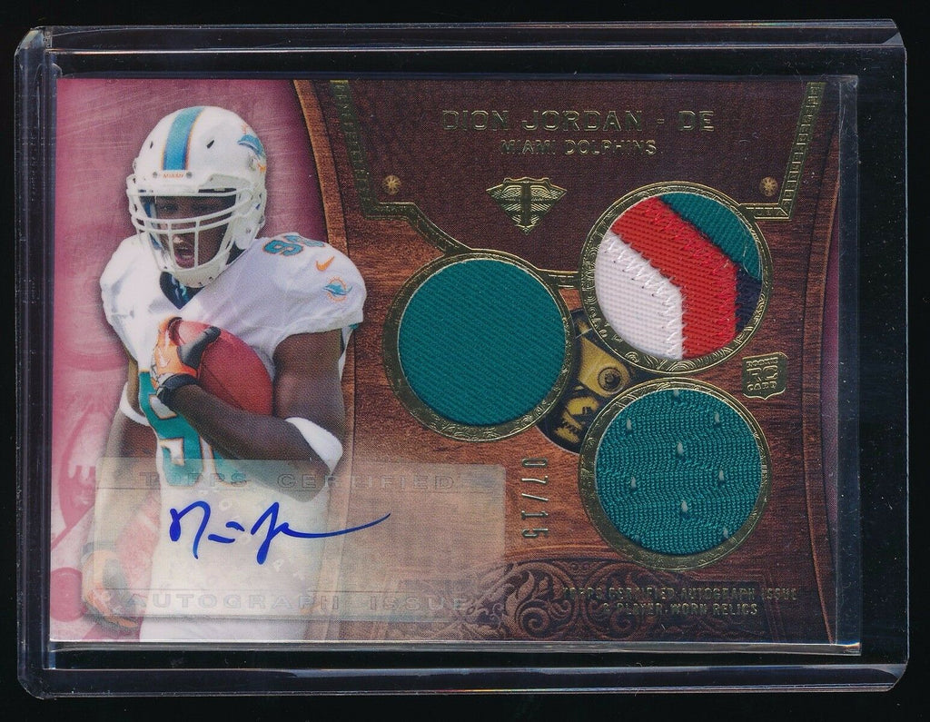 DION JORDAN 2013 TOPPS TRIPLE THREADS RUBY JERSEY RC AUTO 07/15 *MIAMI DOLPHINS*