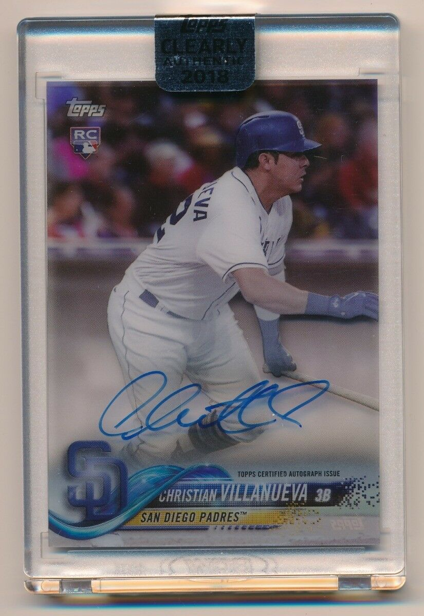 CHRISTIAN VILLANUEVA 2018 TOPPS CLEARLY AUTHENTIC AUTOGRAPH RC AUTO *PADRES*