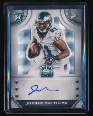 JORDAN MATTHEWS 2014 CROWN ROYALE ROOKIE SIGNATURE SILVER RC AUTO 77/99 *EAGLES*