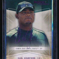 CARL CRAWFORD 2005 SKYBOX AUTOGRAPHICS ROYAL INSIGNIA 05/25 TAMPA BAY DEVIL RAYS