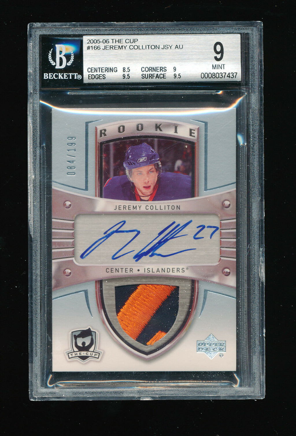 BGS 9 JEREMY COLLITON 2005 UPPER DECK THE CUP JERSEY PATCH AUTOGRAPH AUTO #/199