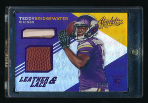 TEDDY BRIDGEWATER 2014 ABSOLUTE LEATHER AND LACES FOOTBALL PURPLE RC 07/20