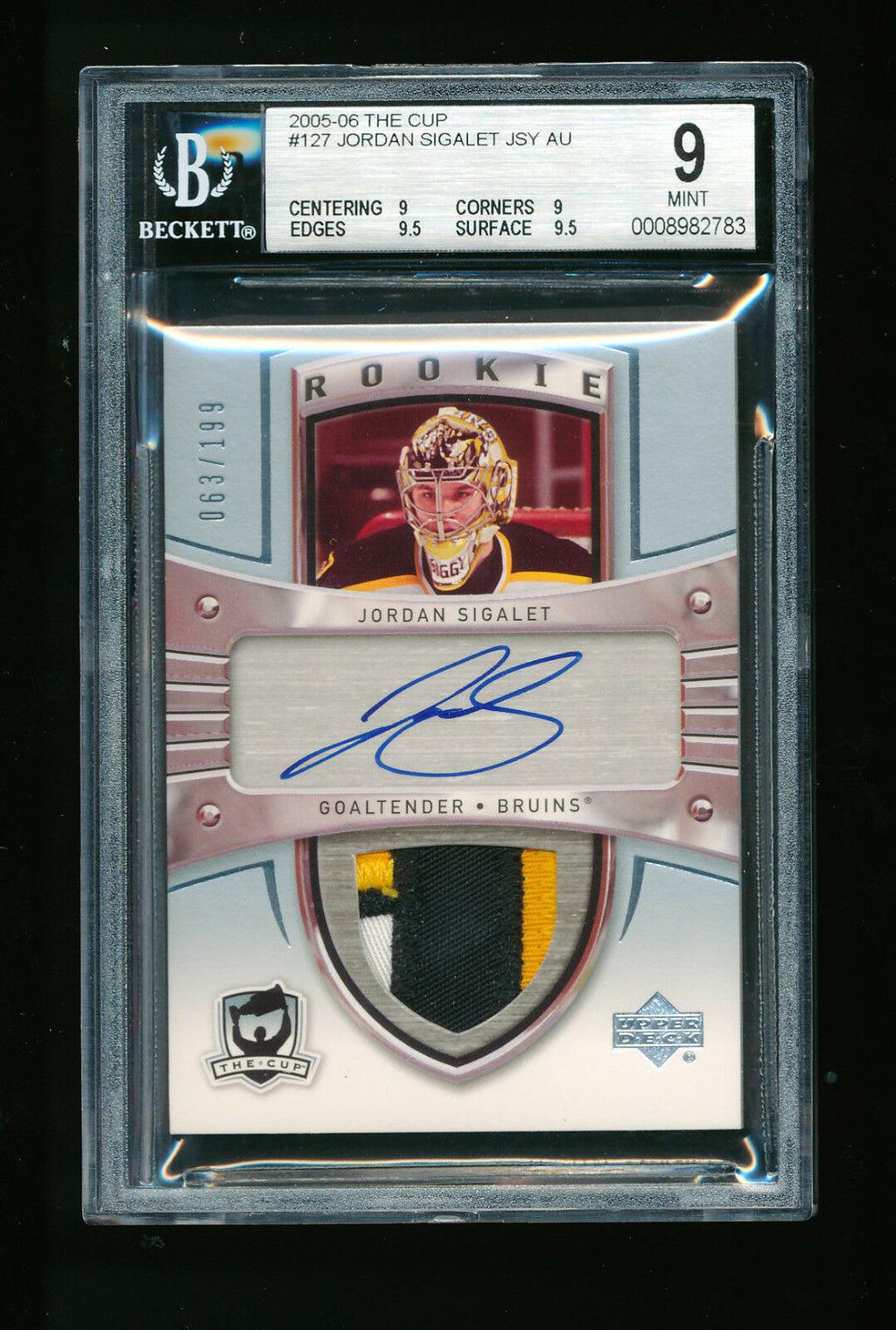 BGS 9 JORDAN SIGALET 2005-06 UPPER DECK THE CUP 3 COLOR PATCH AUTO RC # 063/199