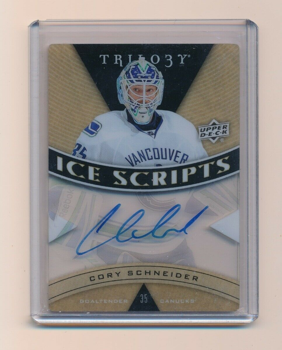 CORY SCHNEIDER 2012-13 UPPER DECK TRILOGY ICE SCRIPTS AUTO *VANCOUVER CANUCKS*