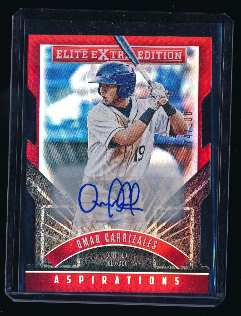 OMAR CARRIZALES 2015 ELITE EXTRA EDITION PROSPECT ASPIRATIONS DIE CUT AUTO /100