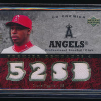 CHONE FIGGINS 2007 UPPER DECK PREMIER REMNANTS QUAD GOLD JERSEY 28/47 *ANGELS*