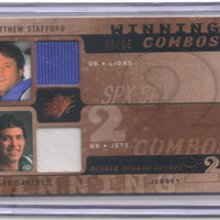 MATTHEW STAFFORD MARK SANCHEZ 2009 SPX WINNING COMBOS GOLD RC JERSEY 08/35 LIONS