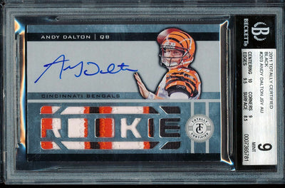 1/1 BGS 9 *MINT* ANDY DALTON 2011 TOTALLY CERTIFIED BLACK BENGALS PATCH AUTO RC