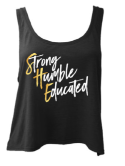 Strong Humble Educated - Ladies Flowy Tank - Black - Meology Apparel