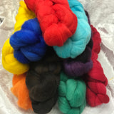 Corriedale rovings. 100 grams, hand dyed