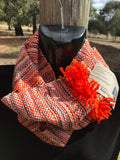 Handwoven cowl orange and grey