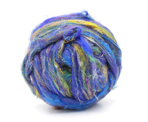Recycled Sari silk in blue with gold 100 grams