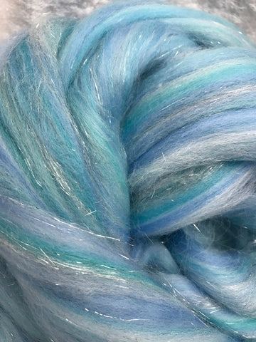 Sparkle roving blue/silver