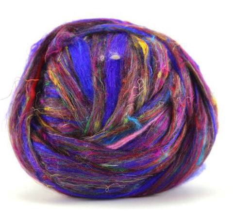Recycled Sari silk in purple 100 grams