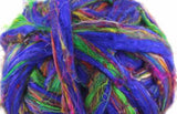 Recycled Sari silk in purple with green 100 grams