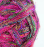 Recycled Sari silk in pink 100 grams