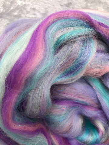 Sparkle roving pink/blue/purple