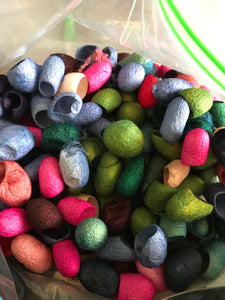 Hand dyed silk cocoons 10 grams