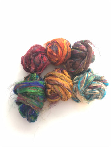Multi coloured Sari silk sample pack 50 gms total