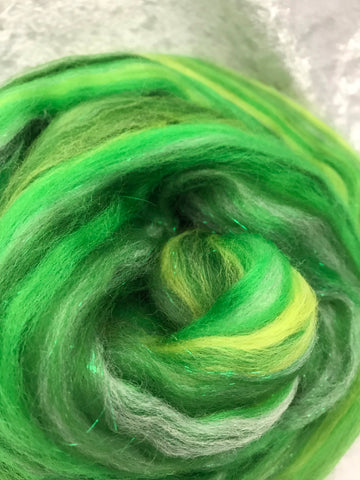 Sparkle roving green/yellow