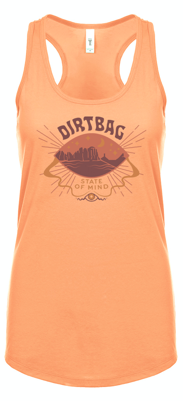 FLASH SALE - Dirtbag State of Mind - racerback tank top - Desert Orange