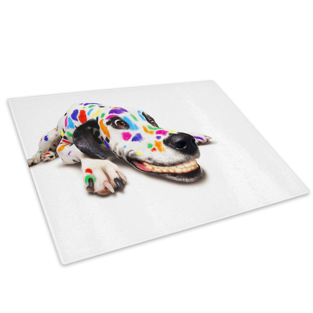 Abstract Dalmatian Dog Glass Chopping Board Kitchen Worktop Saver Protector - A001-Animal Chopping Board-WhatsOnYourWall