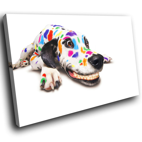 A001 Framed Canvas Print Colourful Modern Animal Wall Art - Rainbow Dalmation Dog Cute-Canvas Print-WhatsOnYourWall