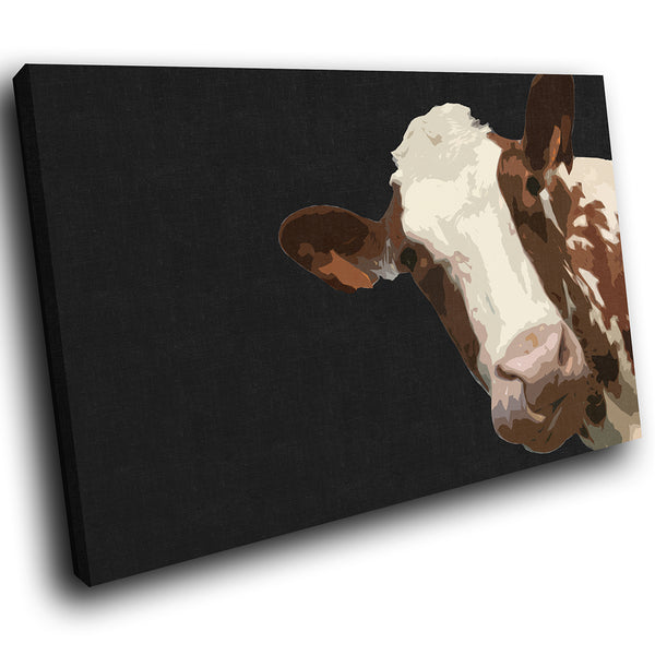 A003 Framed Canvas Print Colourful Modern Animal Wall Art - Black Popart Brown Cow-Canvas Print-WhatsOnYourWall