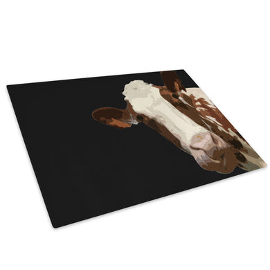 Black Abstract Brown Cow Glass Chopping Board Kitchen Worktop Saver Protector - A003