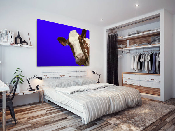 A004 Framed Canvas Print Colourful Modern Animal Wall Art - Blue Popart Brown Cow Hip-Canvas Print-WhatsOnYourWall