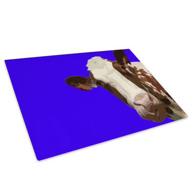 Blue Abstract Brown Cow Glass Chopping Board Kitchen Worktop Saver Protector - A004-Animal Chopping Board-WhatsOnYourWall