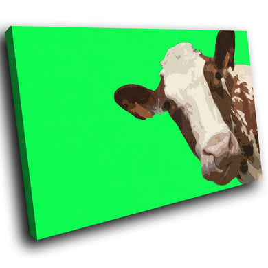 A005 Framed Canvas Print Colourful Modern Animal Wall Art - Green Popart Brown Cow-Canvas Print-WhatsOnYourWall