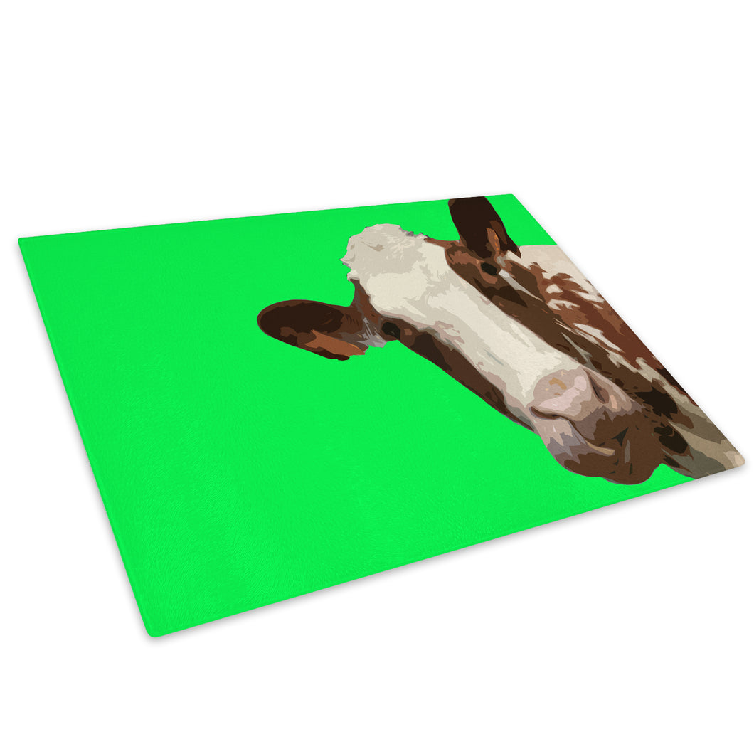 Green Abstract Brown Cow Glass Chopping Board Kitchen Worktop Saver Protector - A005-Animal Chopping Board-WhatsOnYourWall