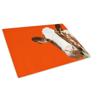 Orange Abstract Brown Cow Glass Chopping Board Kitchen Worktop Saver Protector - A006