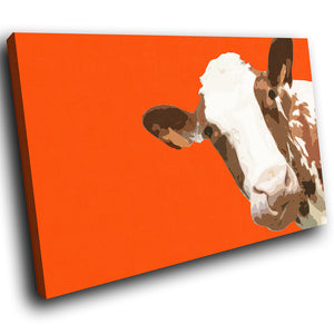 A006 Framed Canvas Print Colourful Modern Animal Wall Art - Orange Popart Brown Cow-Canvas Print-WhatsOnYourWall