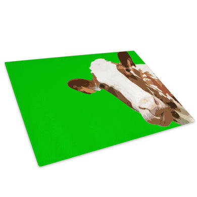 Green Abstract Brown Cow Glass Chopping Board Kitchen Worktop Saver Protector - A007-Animal Chopping Board-WhatsOnYourWall