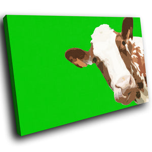 A007 Framed Canvas Print Colourful Modern Animal Wall Art - Green Popart Brown Cow-Canvas Print-WhatsOnYourWall