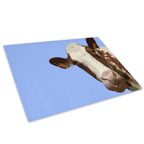 Blue Abstract Brown Cow Glass Chopping Board Kitchen Worktop Saver Protector - A008-Animal Chopping Board-WhatsOnYourWall