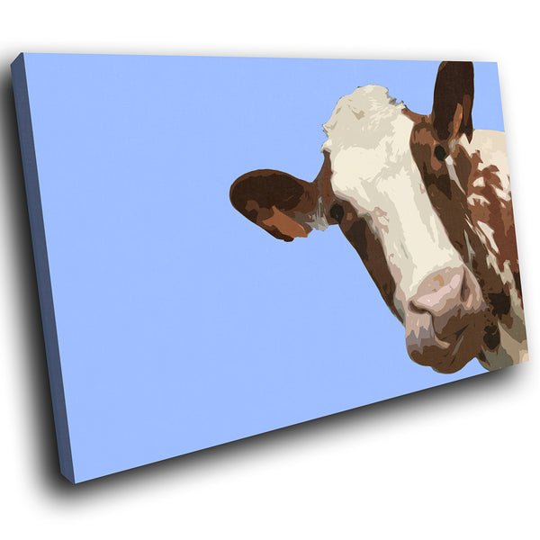 A008 Framed Canvas Print Colourful Modern Animal Wall Art - Blue Popart Brown Cow Hip-Canvas Print-WhatsOnYourWall