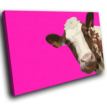 A009 Framed Canvas Print Colourful Modern Animal Wall Art - Pink Popart Brown Cow Hip-Canvas Print-WhatsOnYourWall