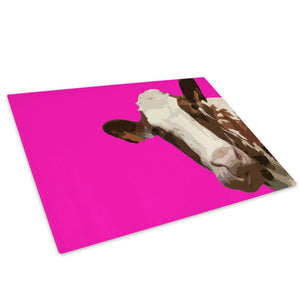 Pink Abstract Brown Cow Glass Chopping Board Kitchen Worktop Saver Protector - A009-Animal Chopping Board-WhatsOnYourWall
