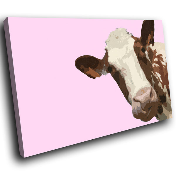A010 Framed Canvas Print Colourful Modern Animal Wall Art - Pink Popart Brown Cow Hip-Canvas Print-WhatsOnYourWall