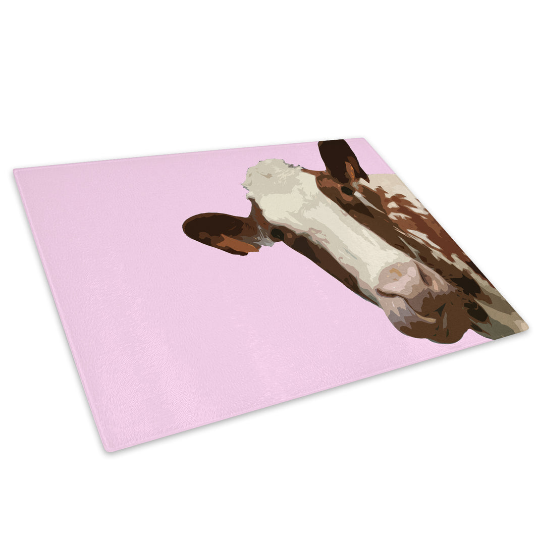 Pink Abstract Brown Cow Glass Chopping Board Kitchen Worktop Saver Protector - A010-Animal Chopping Board-WhatsOnYourWall